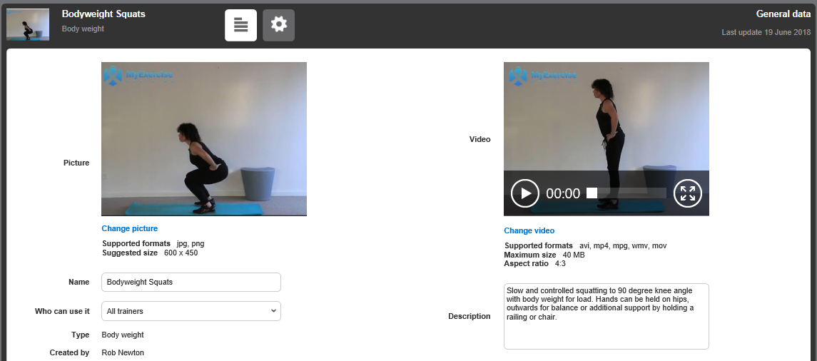 MyExerciseMedicine sample exercise - squat with still and video examples